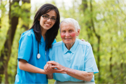 elderly patient with a companion
