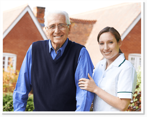 elderly man with companion